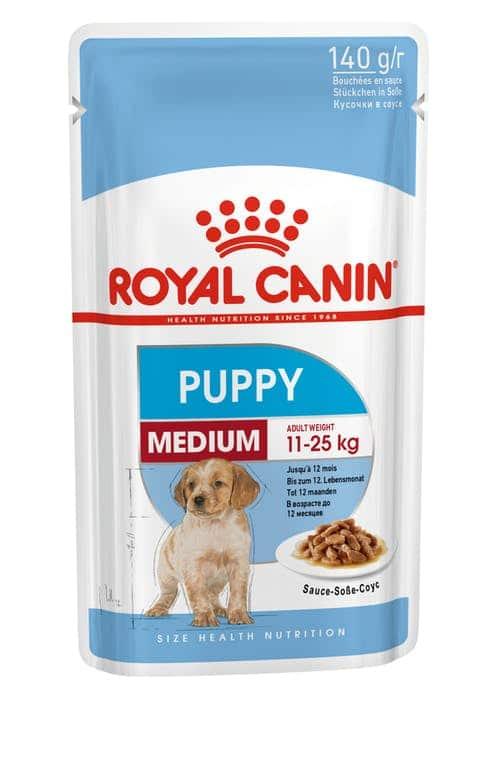 royal canin-פאוץ בטעם עוף לגורי כלבים בינונים